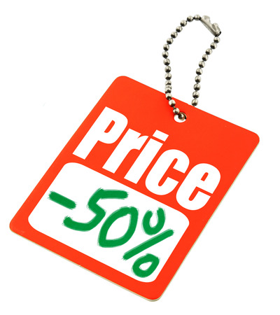 infringement: close-up of a Sale tag against white, no copyright infringement Stock Photo
