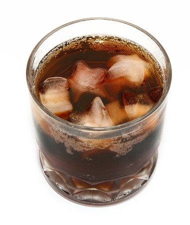 icecubes: cola on ice against white background