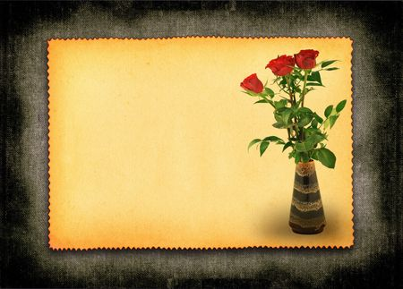 retro love card with flower motive, large copy space for your contenet Stock Photo