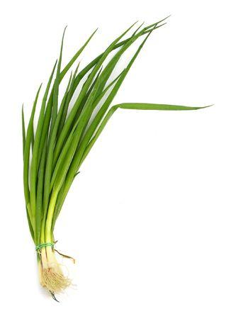 cebollin: manojo de cebolletas frescas contra el fondo blanco, suave sombra natural cerca de la ra�z