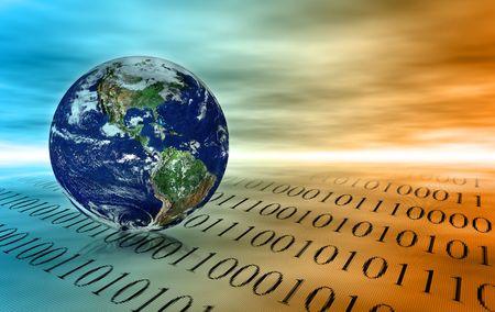 codigo binario: Concepto de comunicaci�n a nivel mundial - planeta Tierra y de c�digo binario en el espacio abstracto  Foto de archivo