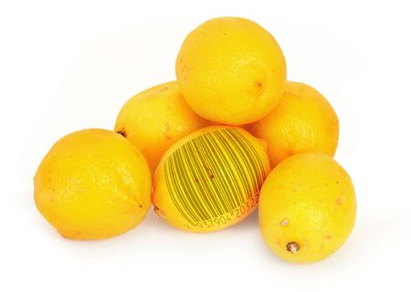 ripe lemons with abstract bar code, gente natural shadow in front (bar code of non-existing product) photo