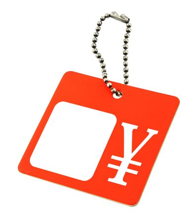 infringement: price tag with Japanese yen symbol, copy space for price, no copyright infringement