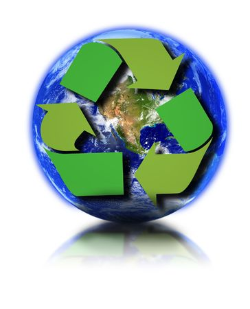 Earth globe and recycle symbol against white background, small reflection in front photo