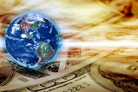 money cosmos: Concept of global business - Earth globe and banknotes on abstract space