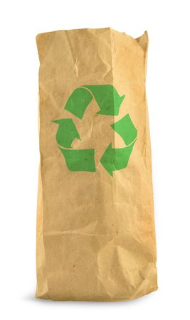 paperbag: brown paper bag with recycle symbol against white background, gentle minimal shadow in front and left side