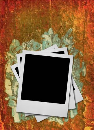 stack of blank photo frames against dirty rough grunge background  photo