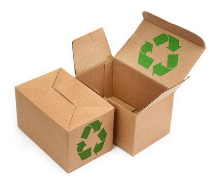 two cardboard boxes with recycle symbol on white background Stock Photo
