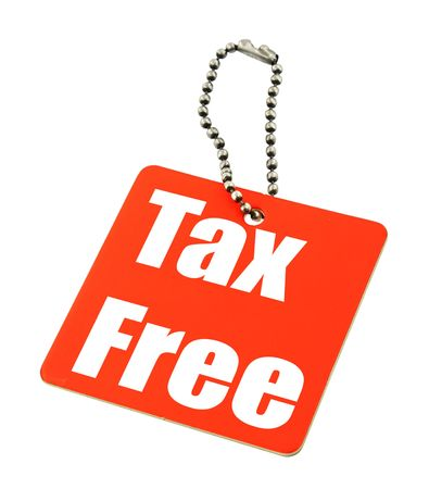 reduced value: tax free price tag against white background