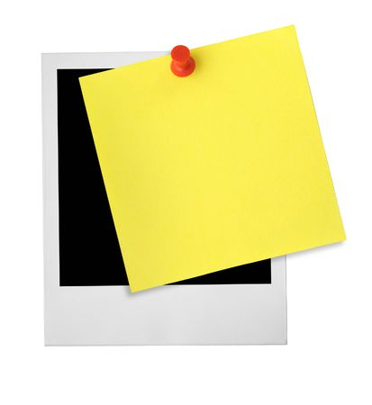 thumbtacked: photo frame and yellow note against whit ebackground