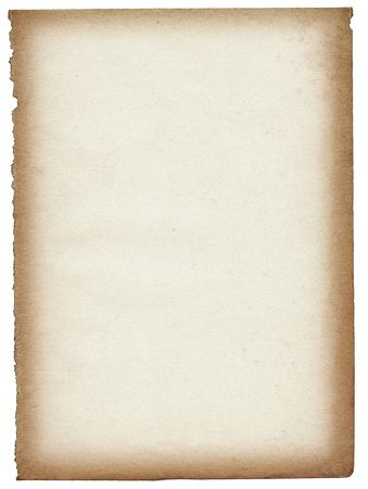 old paper page isolated on white background