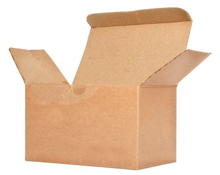 front view of single open cardboard box against white background photo