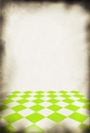 close-up of old paper background, chessboard style pattern in front  photo