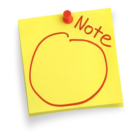 thumbtacked: two adhesive notes with copy space against white background, gentle shadow underneath