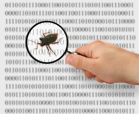 concept of searching for a bug, binary code is abstract, photo of bug is my property