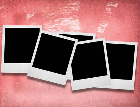 group of blank photo frames against pink porous background Stock Photo - 2114973