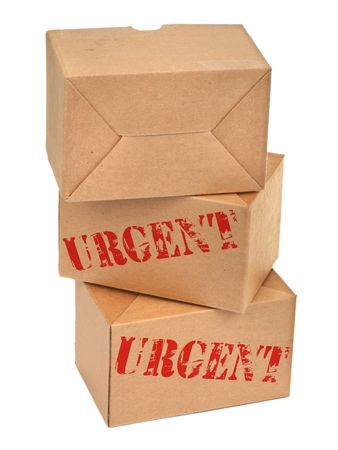 three cardboard boxes againt white background, photo does not infringe any copyright photo