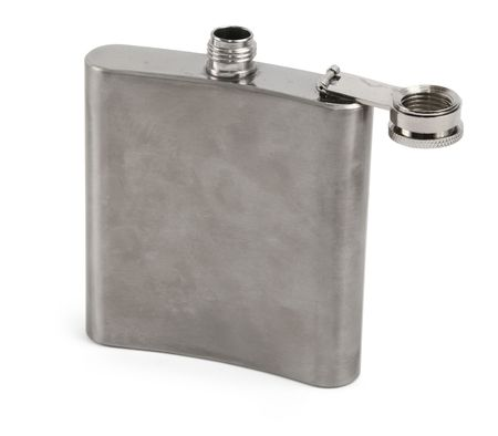 hip flask: single hip flask against white background, minimal shadow at the left side