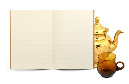 blank exercise book with a teapot and a cup Stock Photo - 2328785