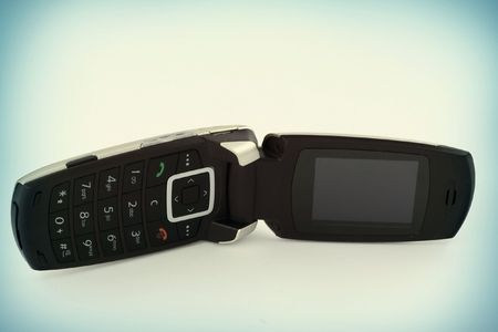 close-up of mobile phone with a flap  photo