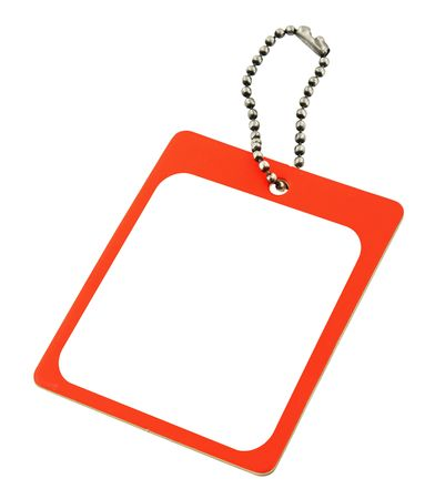 close-up of a blank price tag against pure white background photo