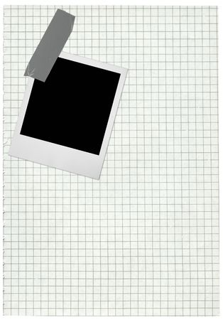 XXL size squared paper page and blank photo frame isolated on pure white background photo