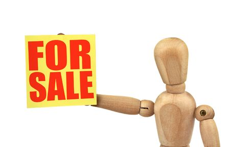 urgent announcement: figure holding a sale announcement isolated on white background