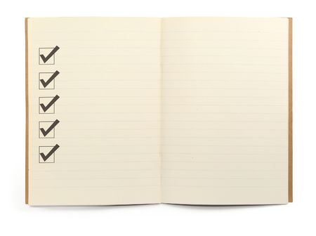 blank check: open lined notebook with checklist boxes against white background, minimal natural shadow in front