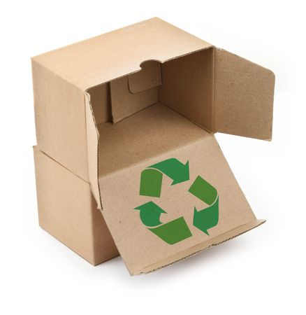 close-up of cardboard boxes with recyclable symbol against white background Stock Photo - 2466572