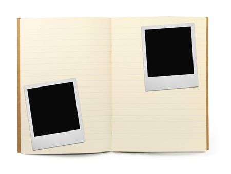 lined exercise book and two photo frames on white, visible shadow in front photo