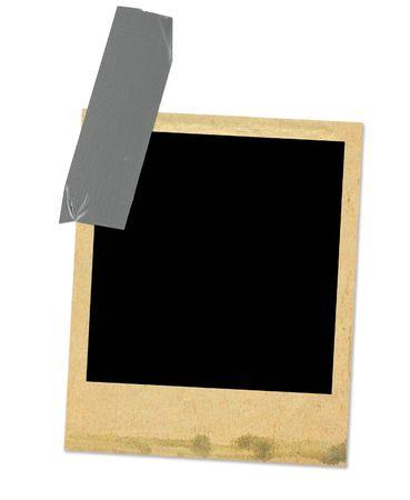 old photo frame taped, minimal shadow behind photo