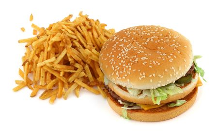 french fries and hamburger against white background  Stock Photo