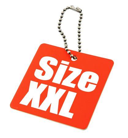 xxl: XXL Size Tag isolated on white background, the photo does not infringe any copyright