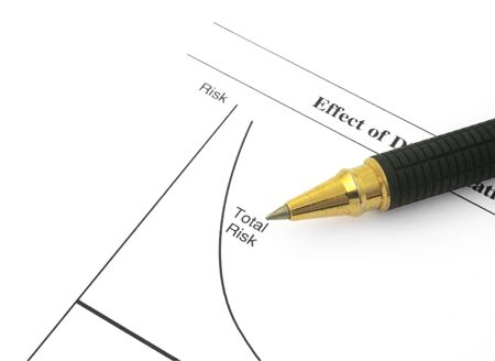 business chart with total risk and ballpoint pen Stock Photo - 2603170