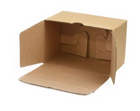 open cardboard box against white background, minimal shadow in front  photo