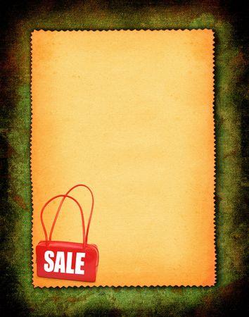 sale concept in a textile retro frame photo