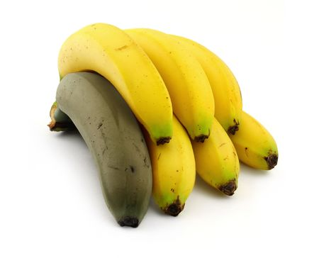 individualist: bunch of ripe bananas with one rotten, natural shadow underneath