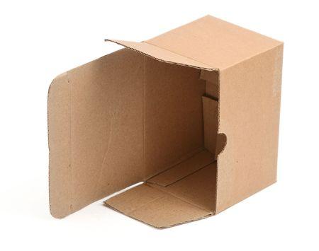 open cardboard box against white background, minimal shadow underneath  photo