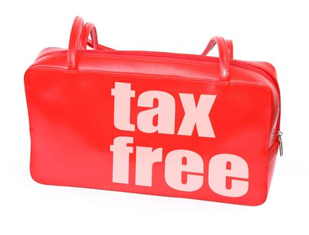 reduced value: red leather handbag with tax free sign on white background, photo does not infringe any copyright