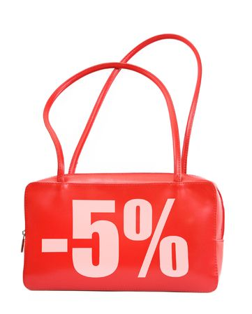 red leather handbag with sale sign on white background, photo does not infringe any copyright Stock Photo - 2813108
