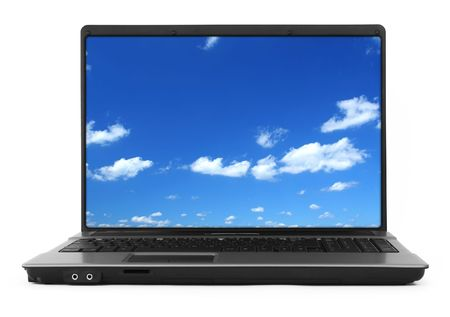 17 inch wide notebook with beautiful summer sky inside, background, natural shadow in front, Photo inside is my property