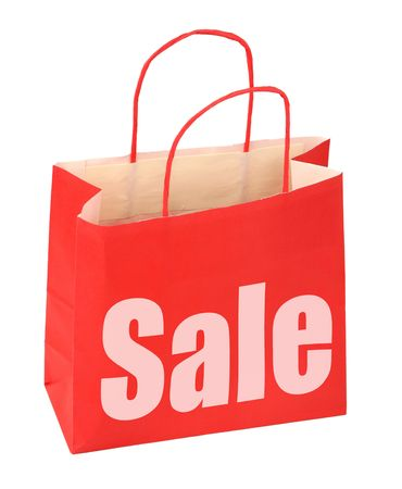shopping bag with red sale sign on white background, photo does not infringe any copyright
