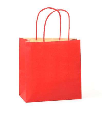 gift bag: red shopping bag on white background Stock Photo
