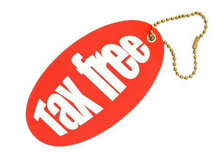 reduced value: tax free price tag against white background, there is no infringement of trademark copyright