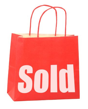 nformation: shopping bag with white sale sign on white background, photo does not infringe any copyright Stock Photo