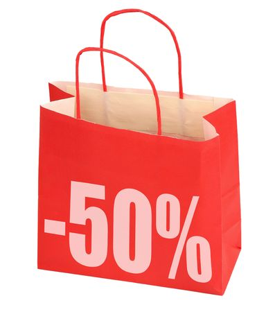 shopping bag with -50% sign on white background, photo does not infringe any copyright photo