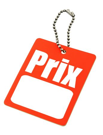prix: price tag with the French price word and copy space for the sum of money,  photo does not infringe any copyright Stock Photo