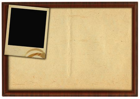 wooden frame and stained photo frame isolated on white background   photo
