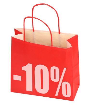 pricetag: shopping bag with -10% sign on white background, photo does not infringe any copyright
