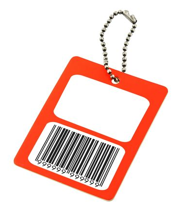 name tags: close-up of a blank price tag with fake bar code on white, photo does not infringe any copyright Stock Photo